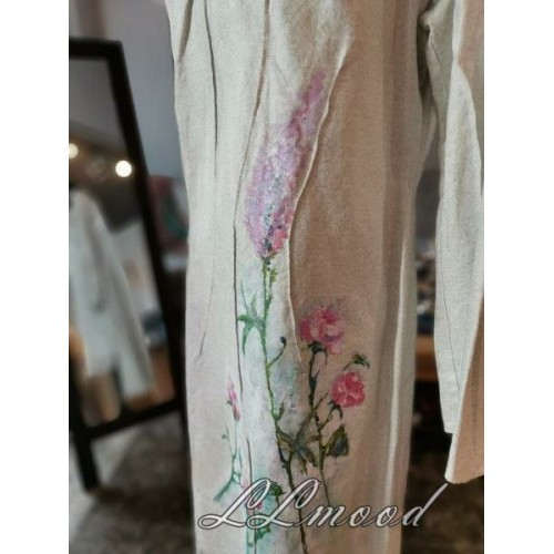 Linen dress with painting
