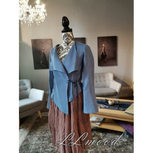 Linen blouse - jacket light blue