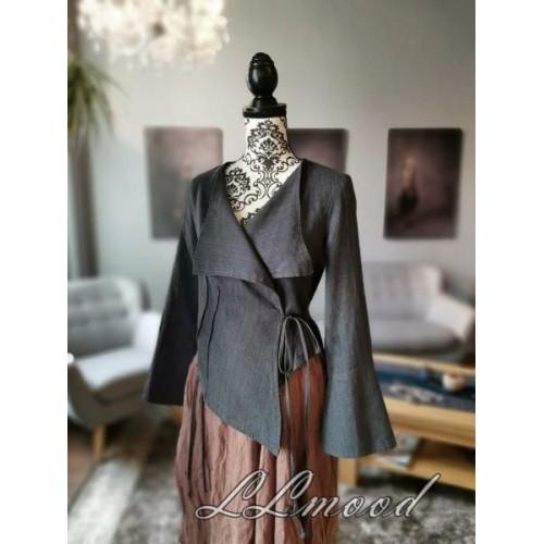 Linen blouse - jacket gray
