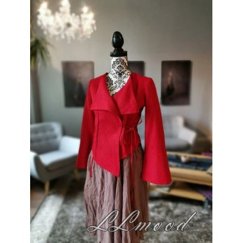 Linen blouse - jacket bright red