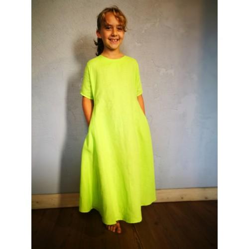 Meiteņu lina kleita